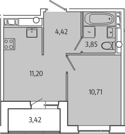 1-к.кв, 31.89 м², 3 этаж