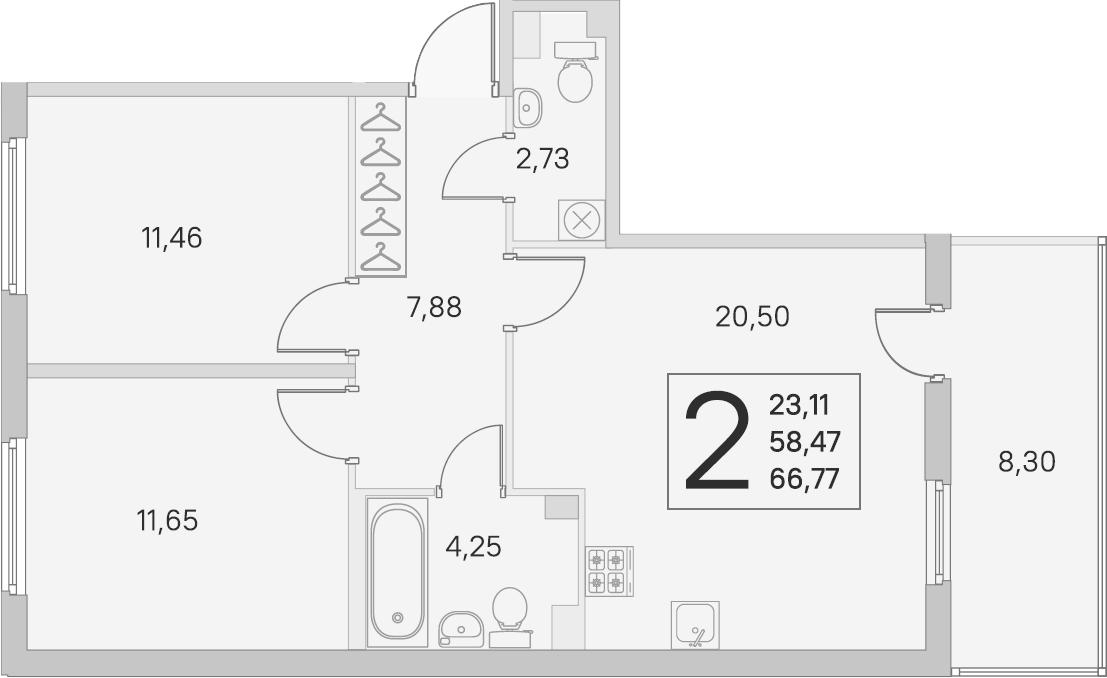3Е-комнатная, 58.47 м²– 2