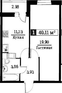 1-к.кв, 40.11 м²