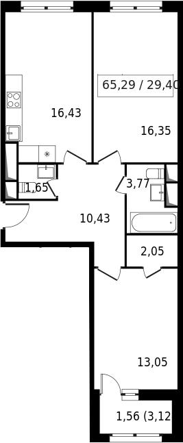 3-к.кв (евро), 66.85 м²