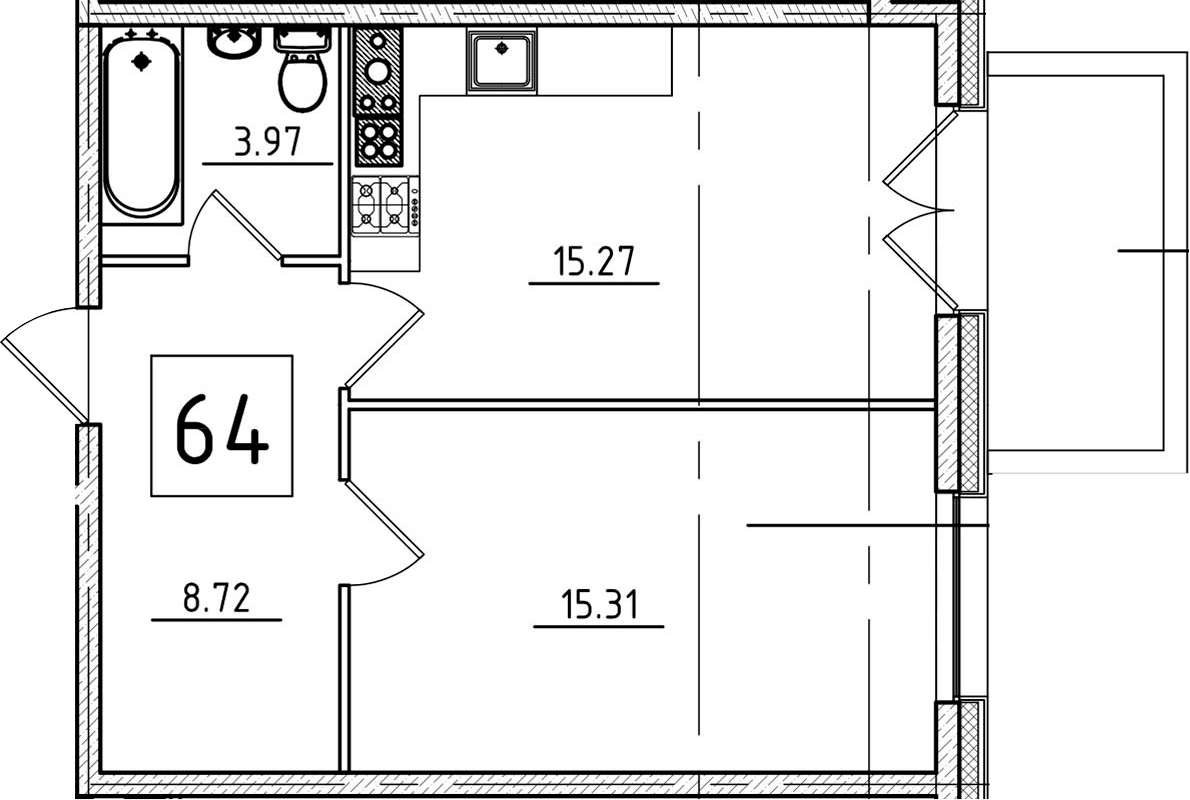 2-к.кв (евро), 48.07 м²