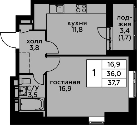 1-комнатная, 37.7 м²– 2