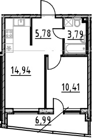 2-к.кв (евро), 41.91 м²