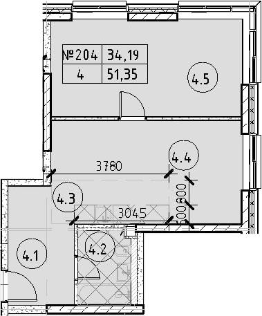 2Е-к.кв, 51.35 м², 22 этаж