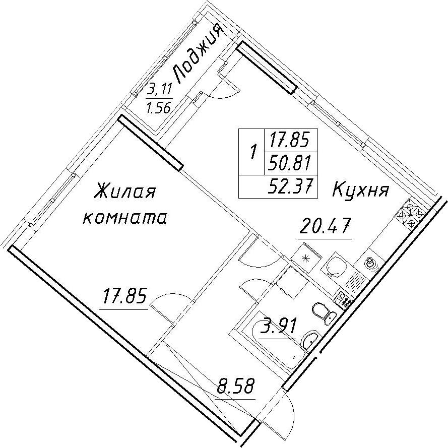2-к.кв (евро), 53.93 м²