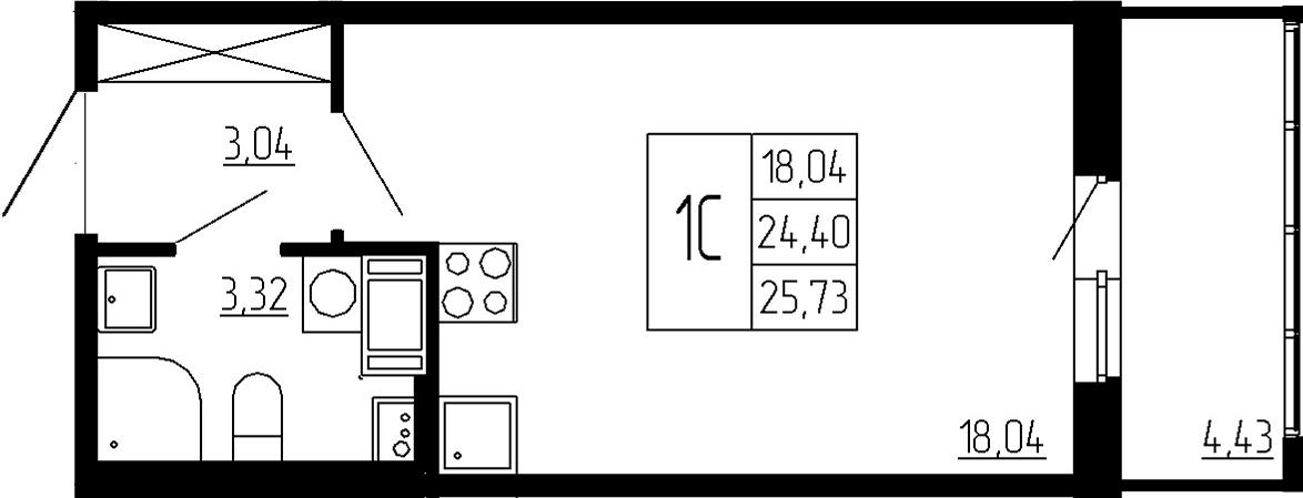 Студия, 24.4 м², 2 этаж