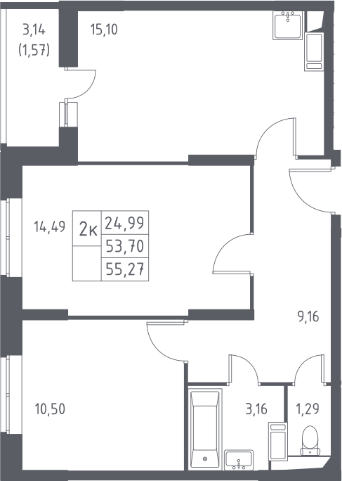 3-к.кв (евро), 56.84 м²