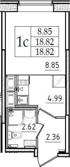 Студия, 18.82 м²