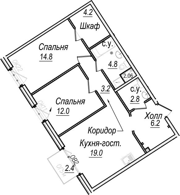 3Е-комнатная, 67.7 м²– 2