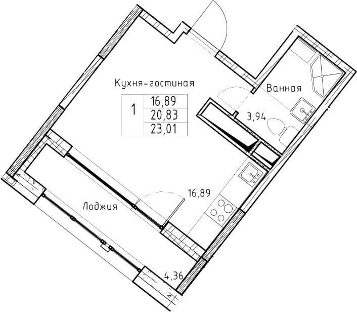 Студия, 23.01 м²– 2