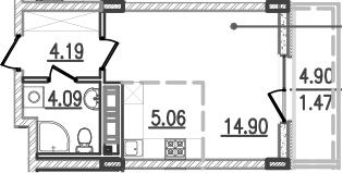 Студия, 33.14 м²