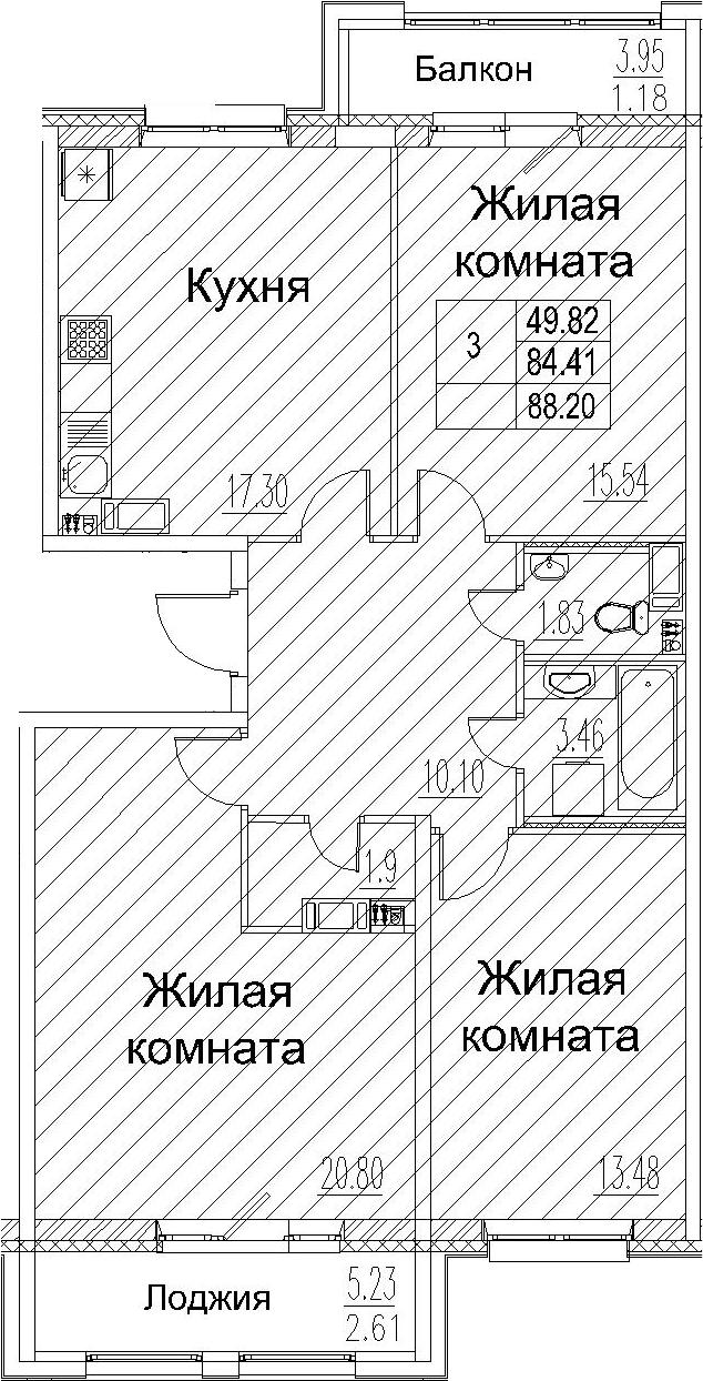 3-к.кв, 88.2 м²