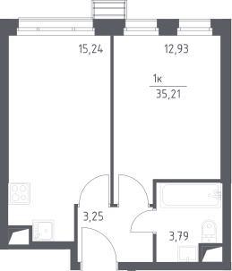 2-к.кв (евро), 35.21 м²
