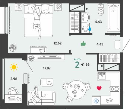 2Е-комнатная, 41.66 м²– 2