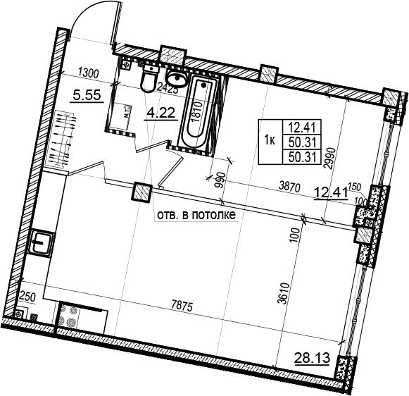 2Е-комнатная, 50.31 м²– 2