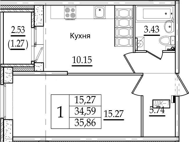 1-комнатная, 35.86 м²– 2