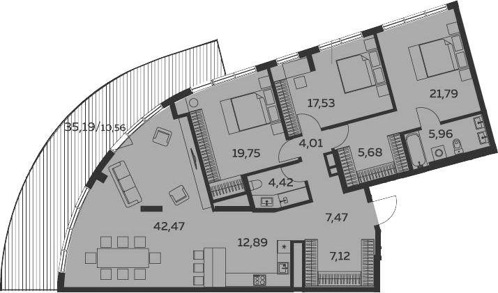 4Е-комнатная, 159.65 м²– 2