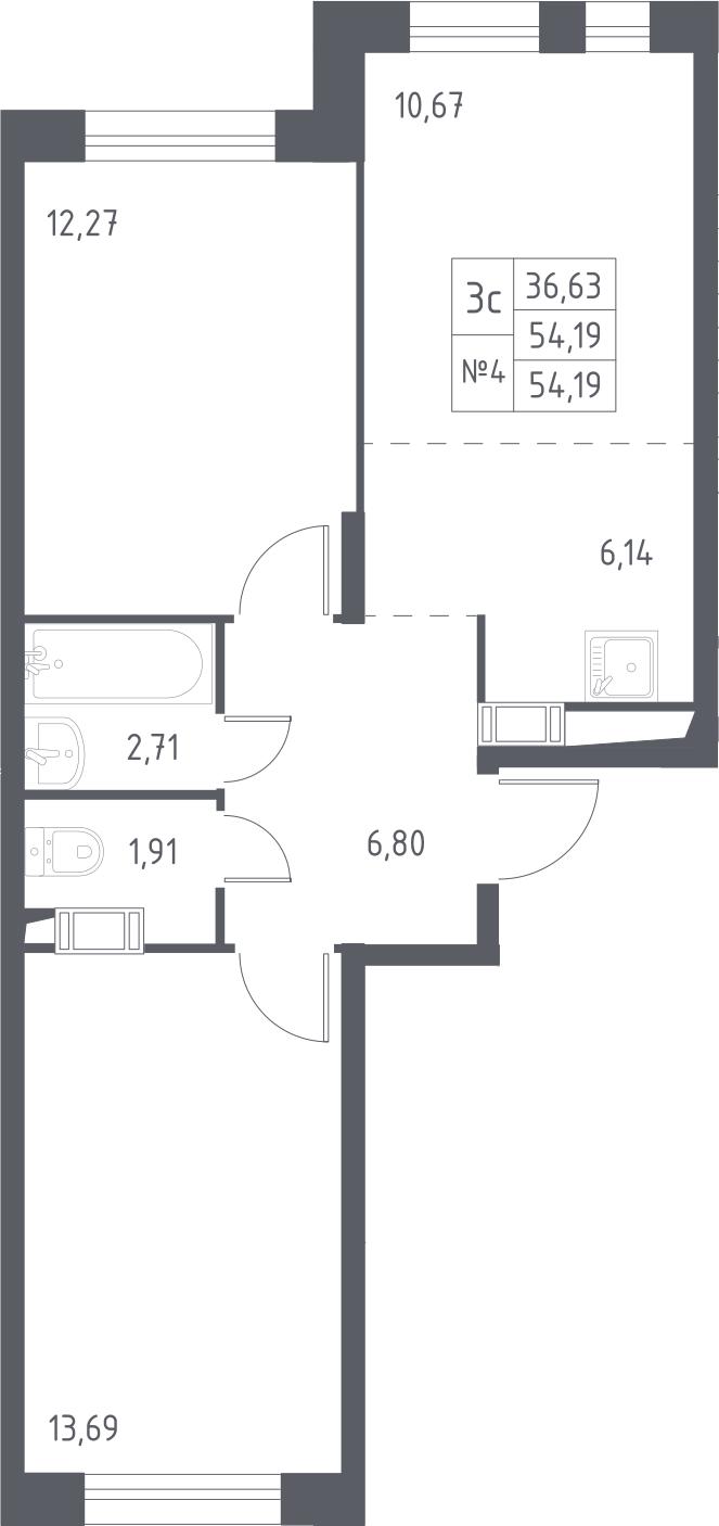 3Е-комнатная, 54.19 м²– 2