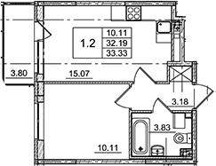 2Е-комнатная, 33.33 м²– 2