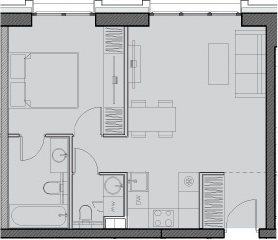Свободная планировка, 43.7 м²– 2