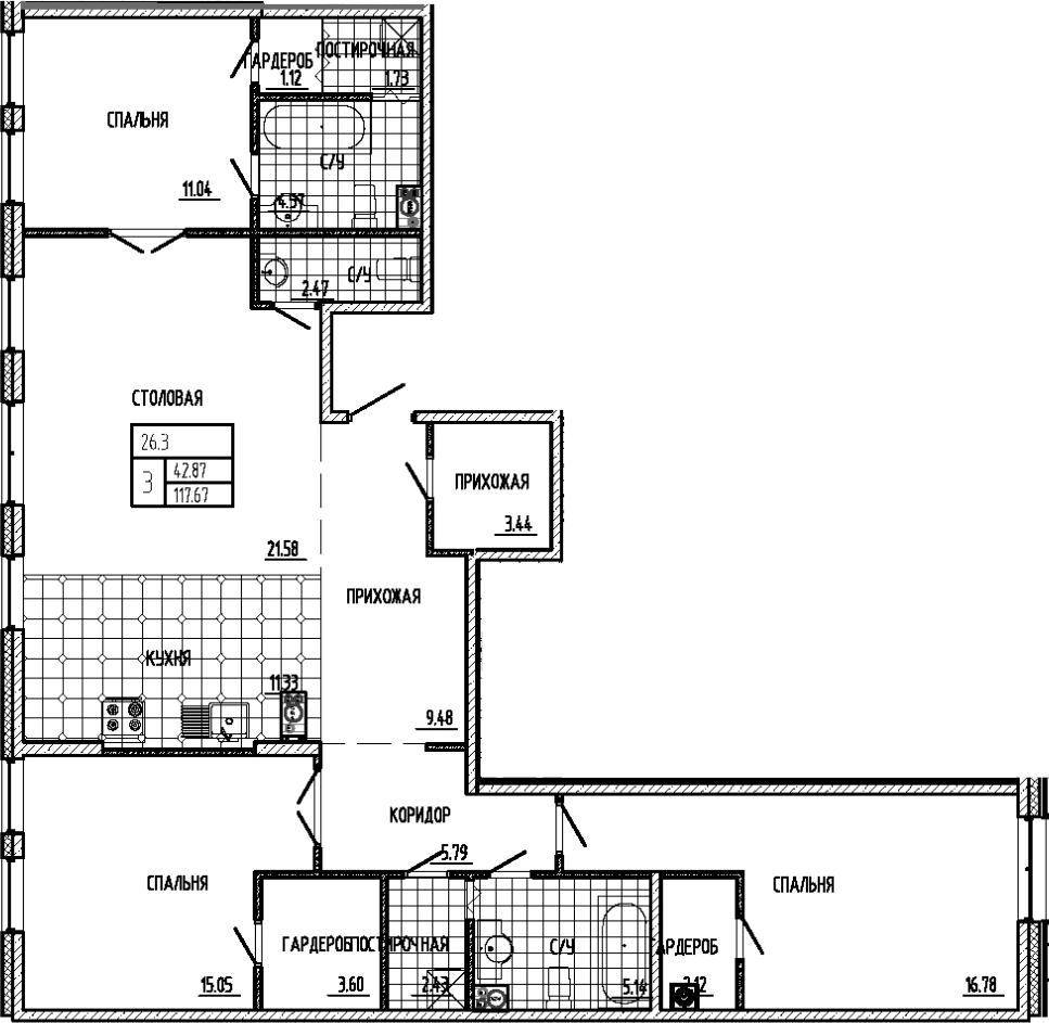 4Е-комнатная, 117.67 м²– 2