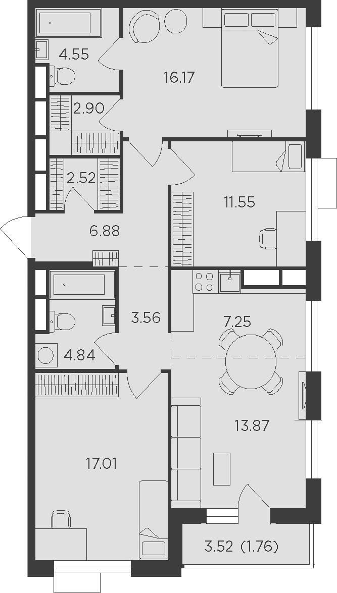 4Е-комнатная, 92.86 м²– 2