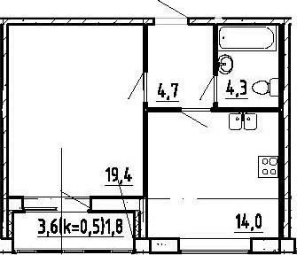 1-комнатная, 44.2 м²– 2