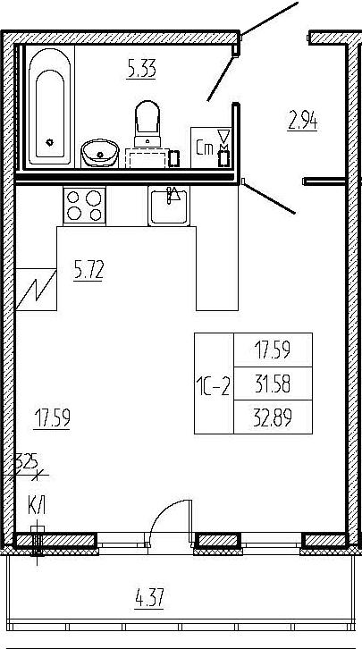 Студия, 31.58 м²