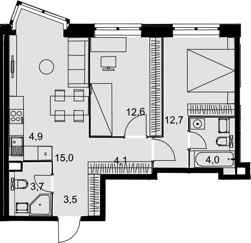 3Е-комнатная квартира, 60.5 м², 2 этаж – Планировка
