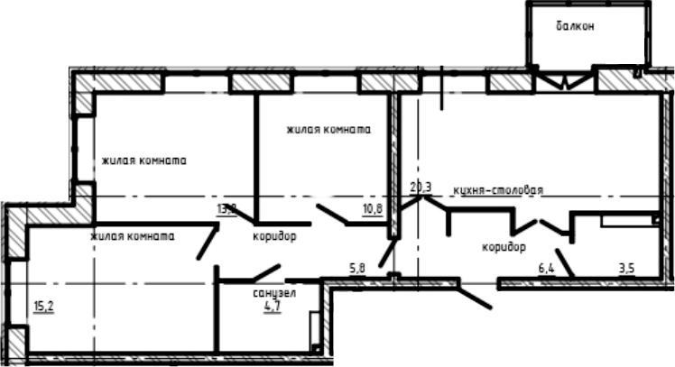 3-к.кв, 81 м², 2 этаж