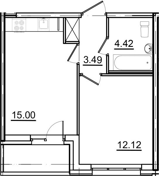 2Е-комнатная, 36.33 м²– 2