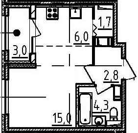 Студия, 31.3 м², 8 этаж