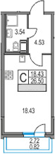 Студия, 26.5 м², от 11 этажа