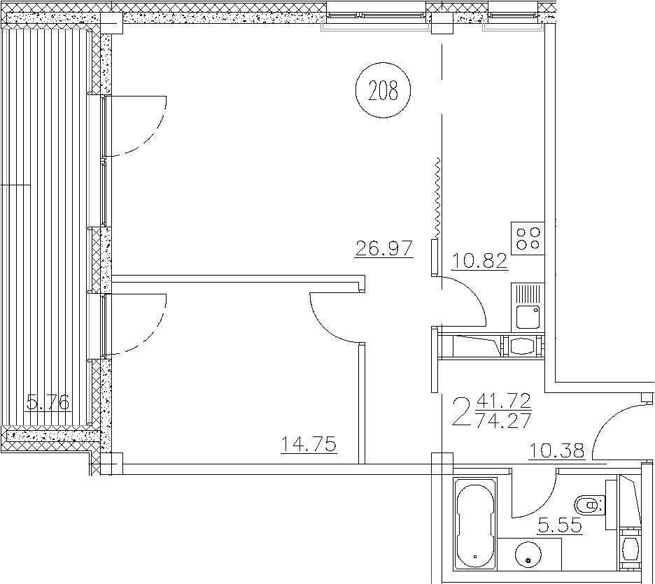 2-к.кв, 75.28 м²