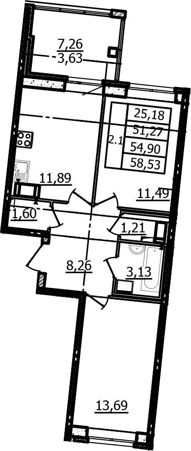 2-к.кв, 51.27 м²