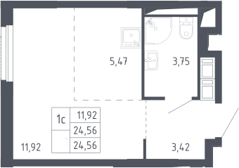 Студия, 24.56 м²– 2