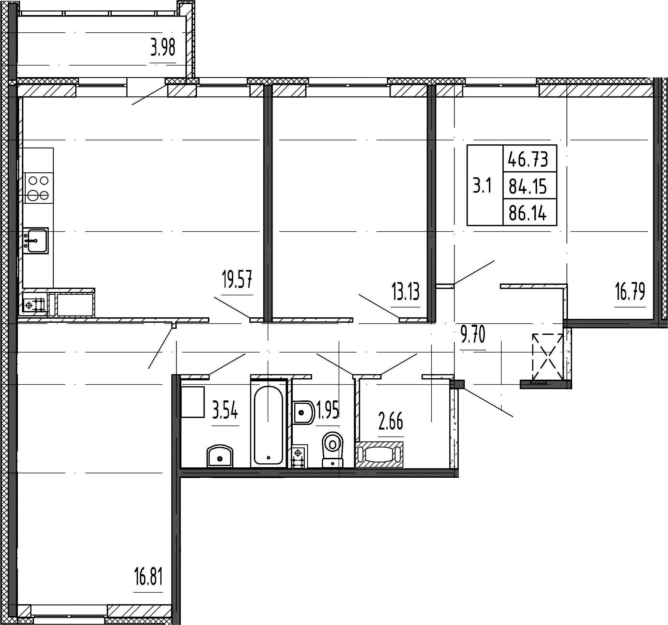 4Е-к.кв, 84.15 м²