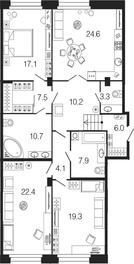 4-к.кв (евро), 133.1 м²