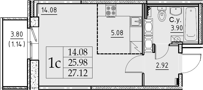 Студия, 27.12 м²– 2
