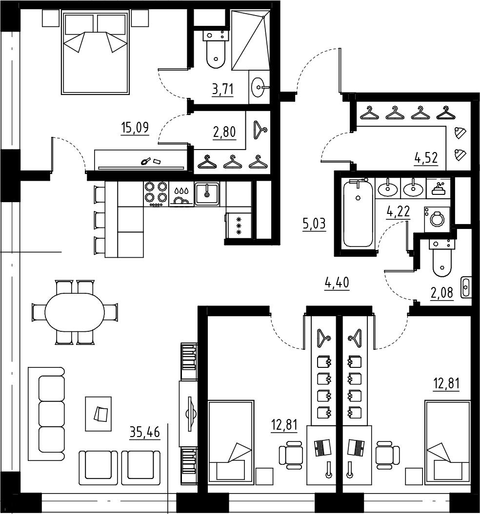 4Е-комнатная, 102.93 м²– 2