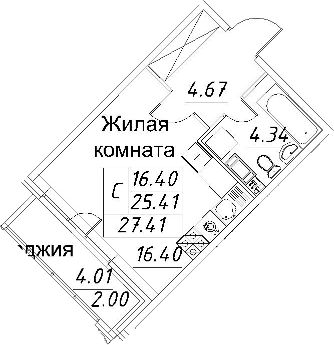 Студия, 27.41 м²– 2