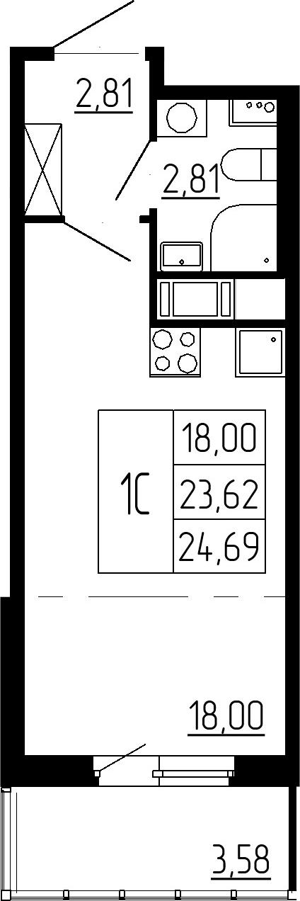 Студия, 23.62 м²