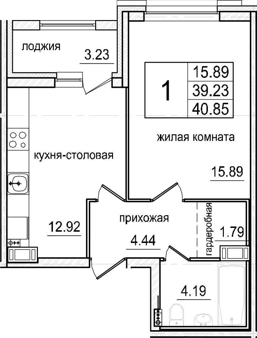 1-к.кв, 42.46 м²
