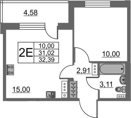 2Е-комнатная, 31.02 м²– 2