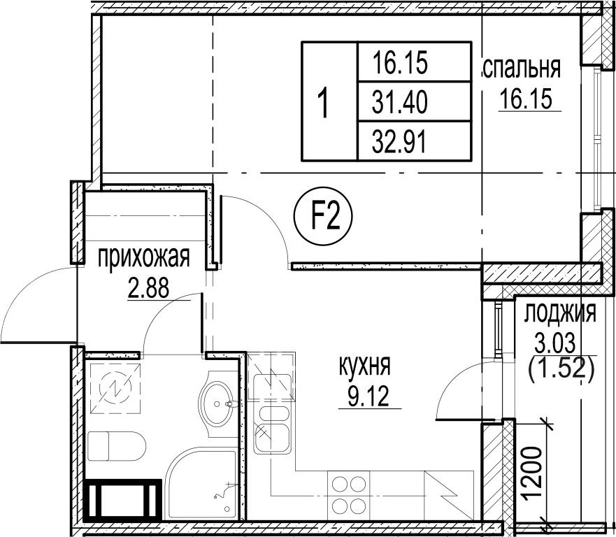 1-к.кв, 34.43 м²