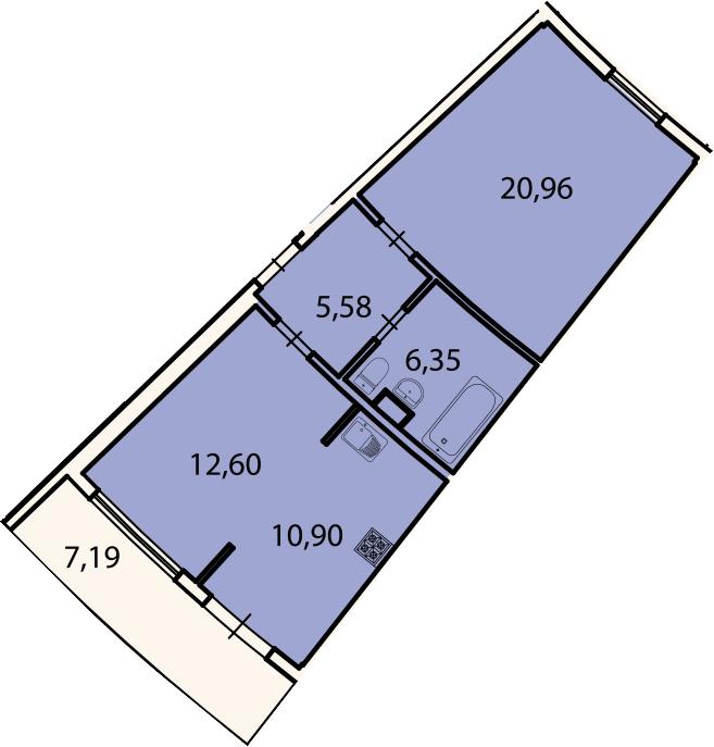 2Е-к.кв, 58.5 м², 2 этаж