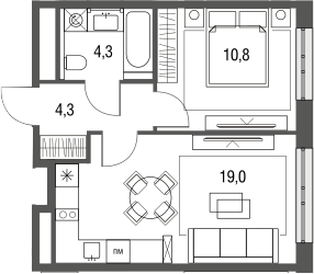 2Е-к.кв, 38.4 м², от 3 этажа