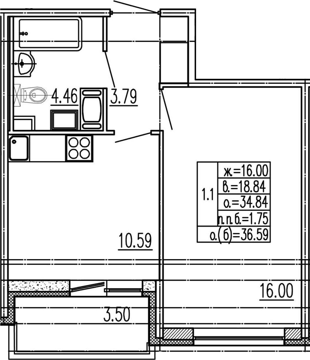 1-комнатная, 34.84 м²– 2