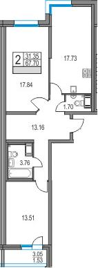 3Е-к.кв, 67.7 м², 5 этаж