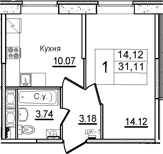 1-к.кв, 31.11 м²